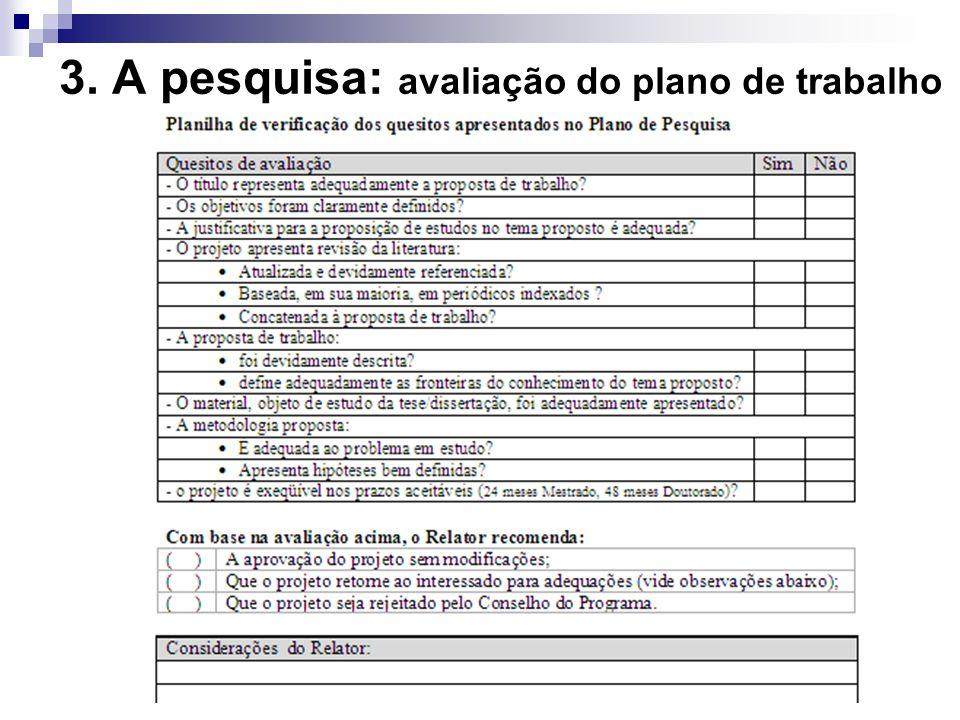 3. A pesquisa: avaliação do plano de trabalho