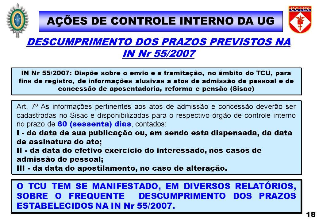 AÇÕES DE CONTROLE INTERNO DA UG IN Nr 55/2007: Dispõe sobre o envio e a tramitação, no âmbito do TCU, para fins de registro, de informações alusivas a