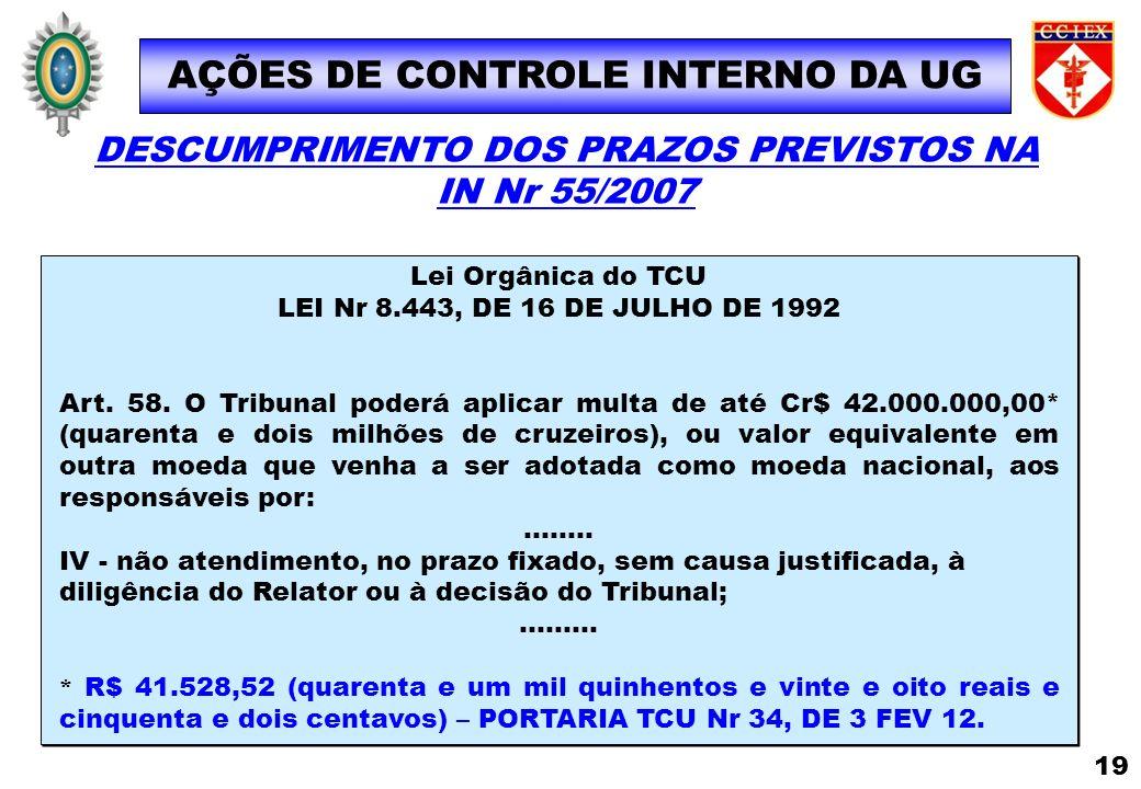 AÇÕES DE CONTROLE INTERNO DA UG Lei Orgânica do TCU LEI Nr 8.443, DE 16 DE JULHO DE 1992 Art. 58. O Tribunal poderá aplicar multa de até Cr$ 42.000.00