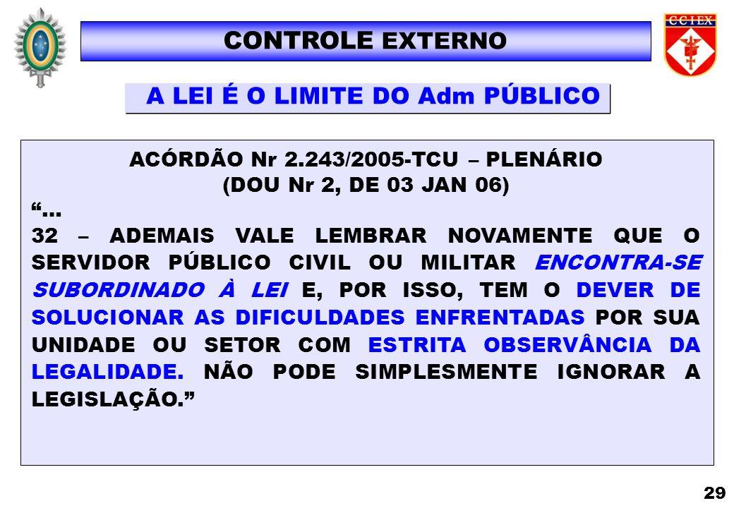 ACÓRDÃO Nr 2.243/2005-TCU – PLENÁRIO (DOU Nr 2, DE 03 JAN 06) … 32 – ADEMAIS VALE LEMBRAR NOVAMENTE QUE O SERVIDOR PÚBLICO CIVIL OU MILITAR ENCONTRA-S