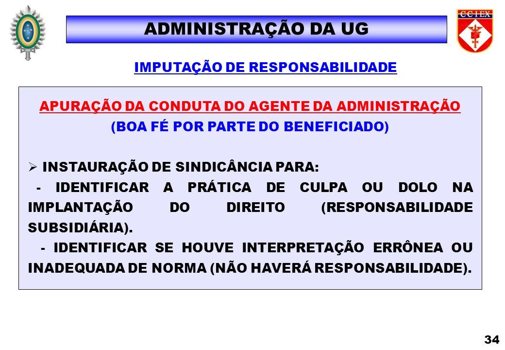 IMPUTAÇÃO DE RESPONSABILIDADE APURAÇÃO DA CONDUTA DO AGENTE DA ADMINISTRAÇÃO (BOA FÉ POR PARTE DO BENEFICIADO) INSTAURAÇÃO DE SINDICÂNCIA PARA: - IDEN