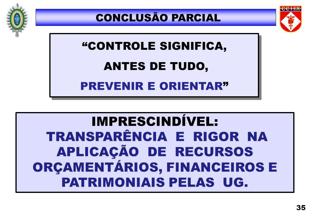IMPRESCINDÍVEL: TRANSPARÊNCIA E RIGOR NA APLICAÇÃO DE RECURSOS ORÇAMENTÁRIOS, FINANCEIROS E PATRIMONIAIS PELAS UG. CONCLUSÃO PARCIAL 35 CONTROLE SIGNI