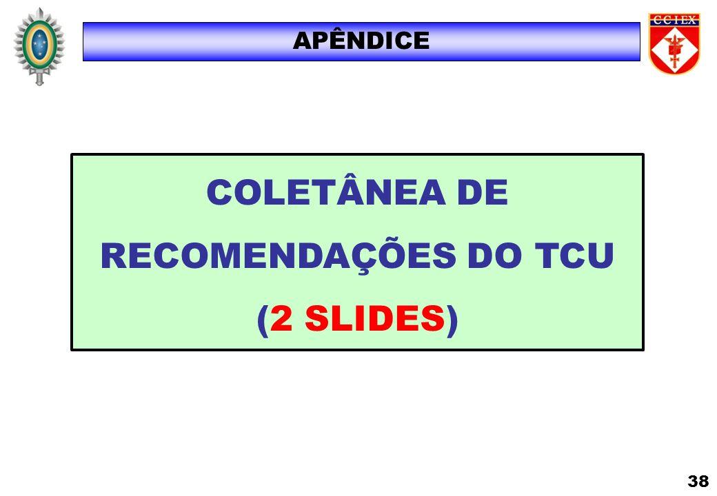 COLETÂNEA DE RECOMENDAÇÕES DO TCU (2 SLIDES) APÊNDICE 38