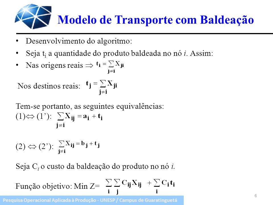 Pesquisa Operacional Aplicada à Produção - UNESP / Campus de Guaratinguetá Modelo de Transporte com Baldeação Para cada nó : T = t i + X ii, onde X ii é o valor da baldeação interna nos nós.