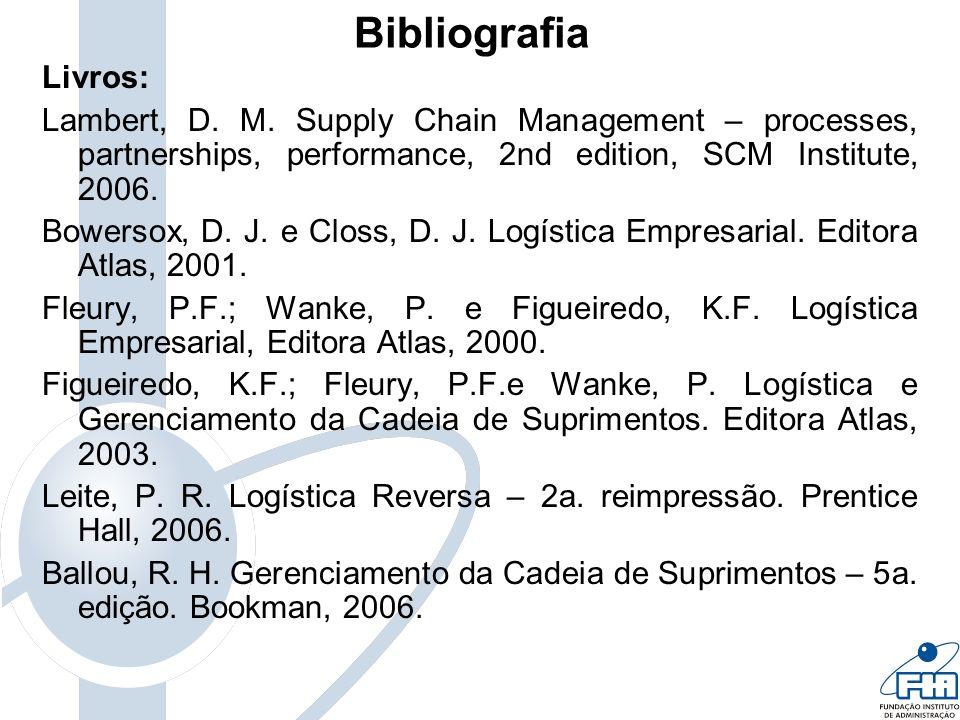 Bibliografia Livros: Lambert, D. M. Supply Chain Management – processes, partnerships, performance, 2nd edition, SCM Institute, 2006. Bowersox, D. J.