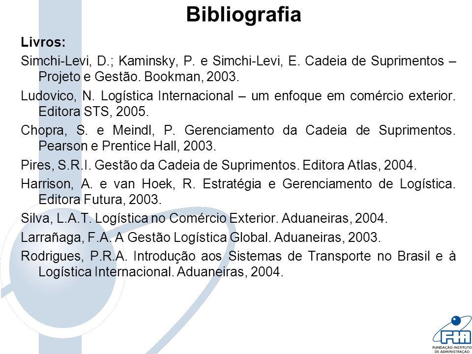 Bibliografia Livros: Simchi-Levi, D.; Kaminsky, P. e Simchi-Levi, E. Cadeia de Suprimentos – Projeto e Gestão. Bookman, 2003. Ludovico, N. Logística I