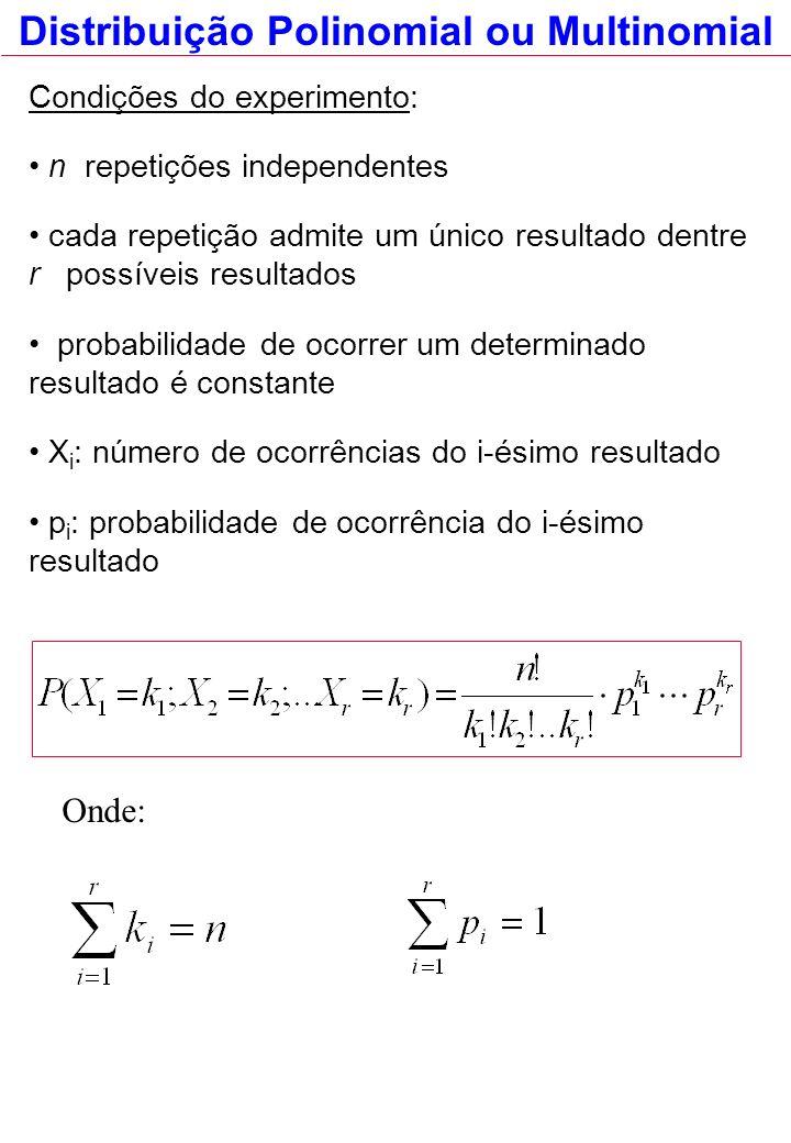 Condições do experimento: n repetições independentes cada repetição admite um único resultado dentre r possíveis resultados probabilidade de ocorrer um determinado resultado é constante X i : número de ocorrências do i-ésimo resultado p i : probabilidade de ocorrência do i-ésimo resultado Onde: Distribuição Polinomial ou Multinomial