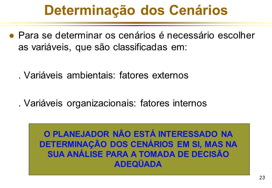 23 Determinação dos Cenários l Para se determinar os cenários é necessário escolher as variáveis, que são classificadas em:. Variáveis ambientais: fat