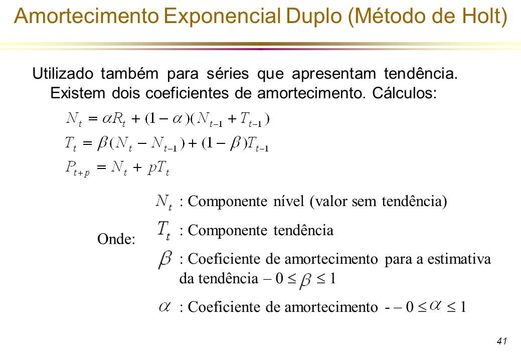 41 Amortecimento Exponencial Duplo (Método de Holt) Utilizado também para séries que apresentam tendência. Existem dois coeficientes de amortecimento.