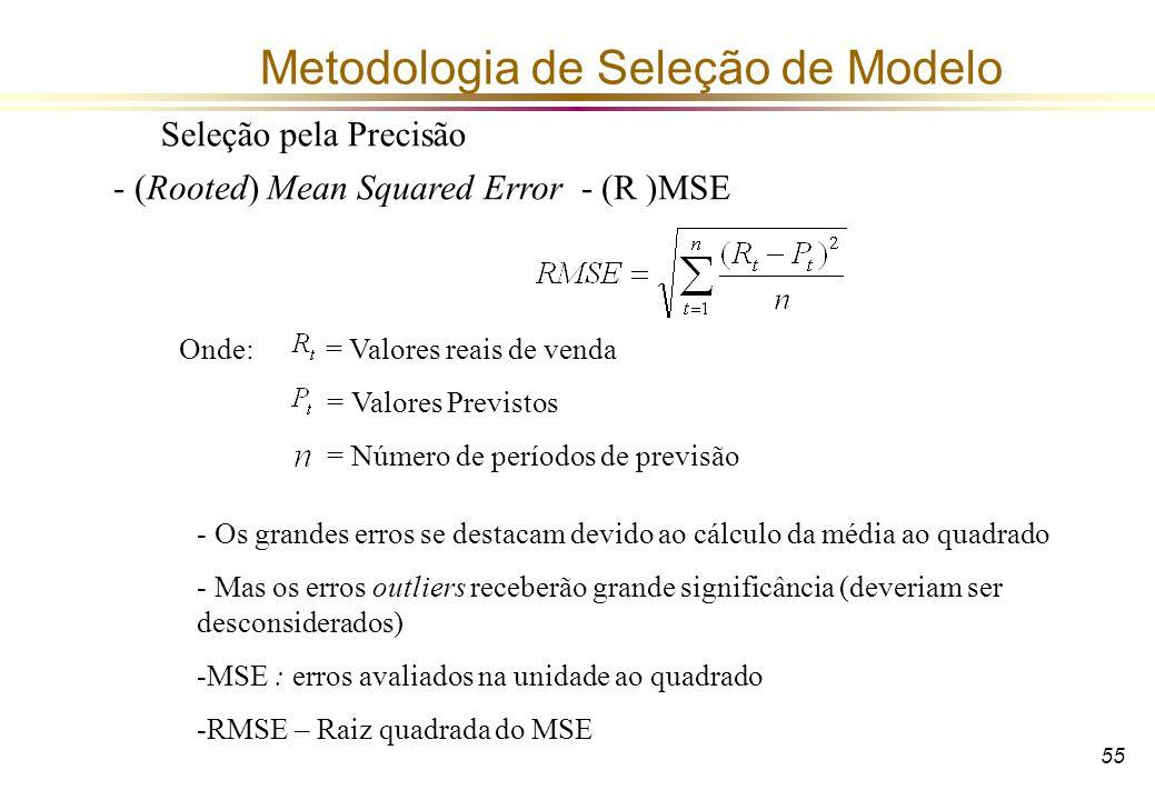 55 Metodologia de Seleção de Modelo Seleção pela Precisão - (Rooted) Mean Squared Error - (R )MSE Onde: = Valores reais de venda = Valores Previstos =