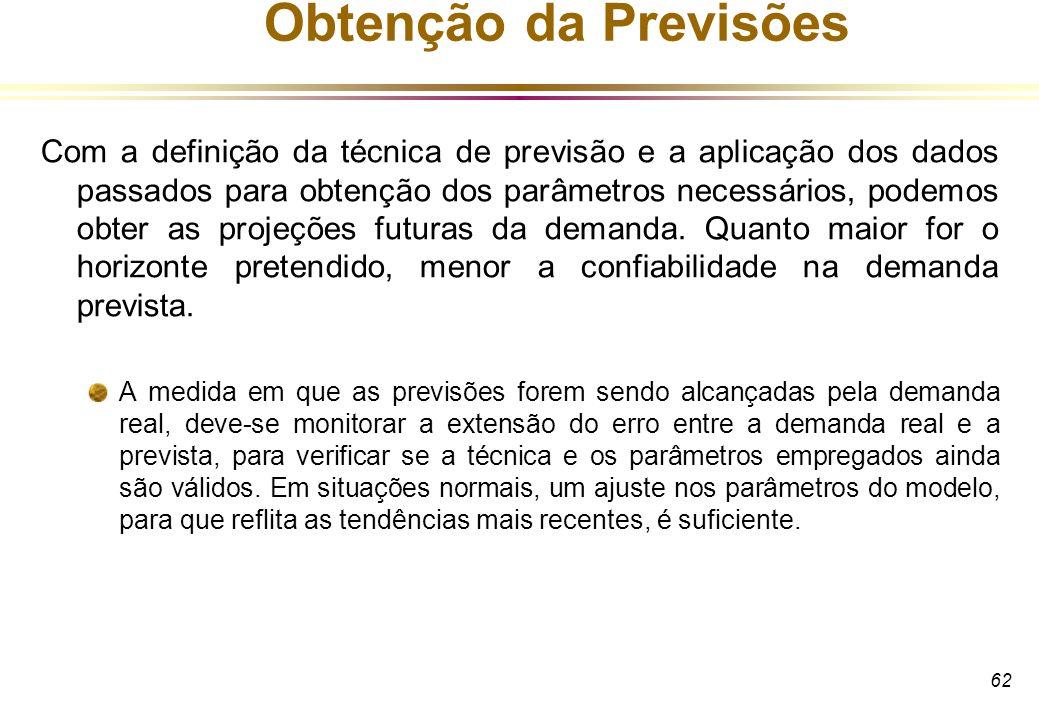 62 Obtenção da Previsões Com a definição da técnica de previsão e a aplicação dos dados passados para obtenção dos parâmetros necessários, podemos obt