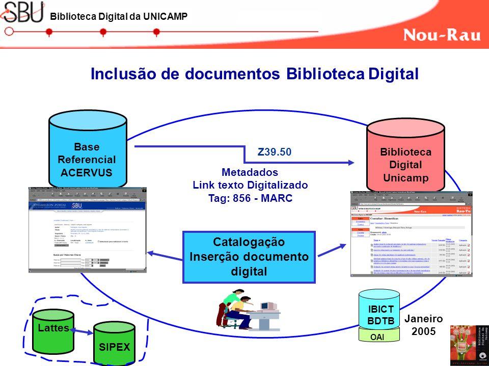 Catalogação Inserção documento digital Base Referencial ACERVUS Biblioteca Digital Unicamp Metadados Link texto Digitalizado Tag: 856 - MARC Inclusão