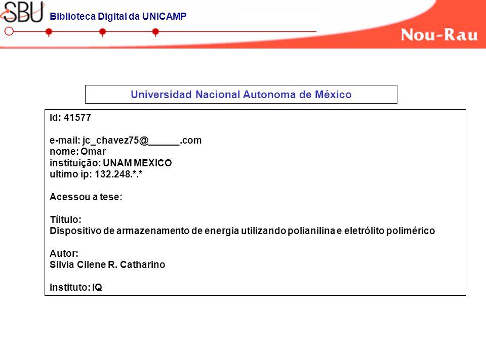 Universidad Nacional Autonoma de México id: 41577 e-mail: jc_chavez75@______.com nome: Omar instituição: UNAM MEXICO ultimo ip: 132.248.*.* Acessou a tese: Tíitulo: Dispositivo de armazenamento de energia utilizando polianilina e eletrólito polimérico Autor: Silvia Cilene R.