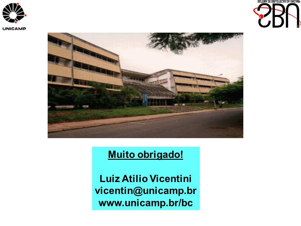 Muito obrigado! Luiz Atilio Vicentini vicentin@unicamp.br www.unicamp.br/bc