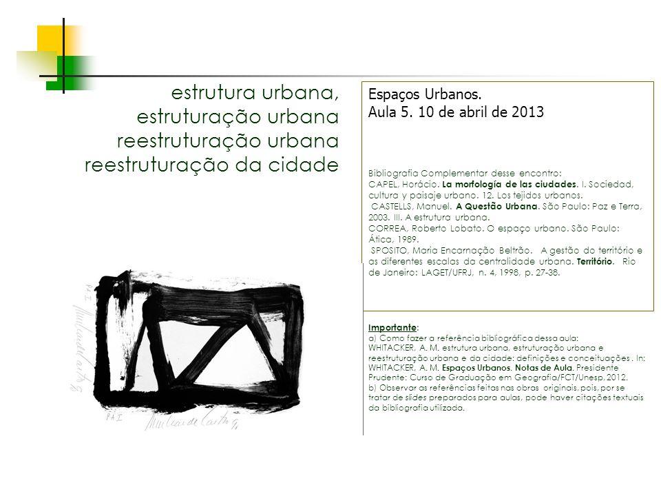 Espaços livres em megacidades estrutura urbana, estruturação urbana reestruturação urbana reestruturação da cidade Espaços Urbanos. Aula 5. 10 de abri