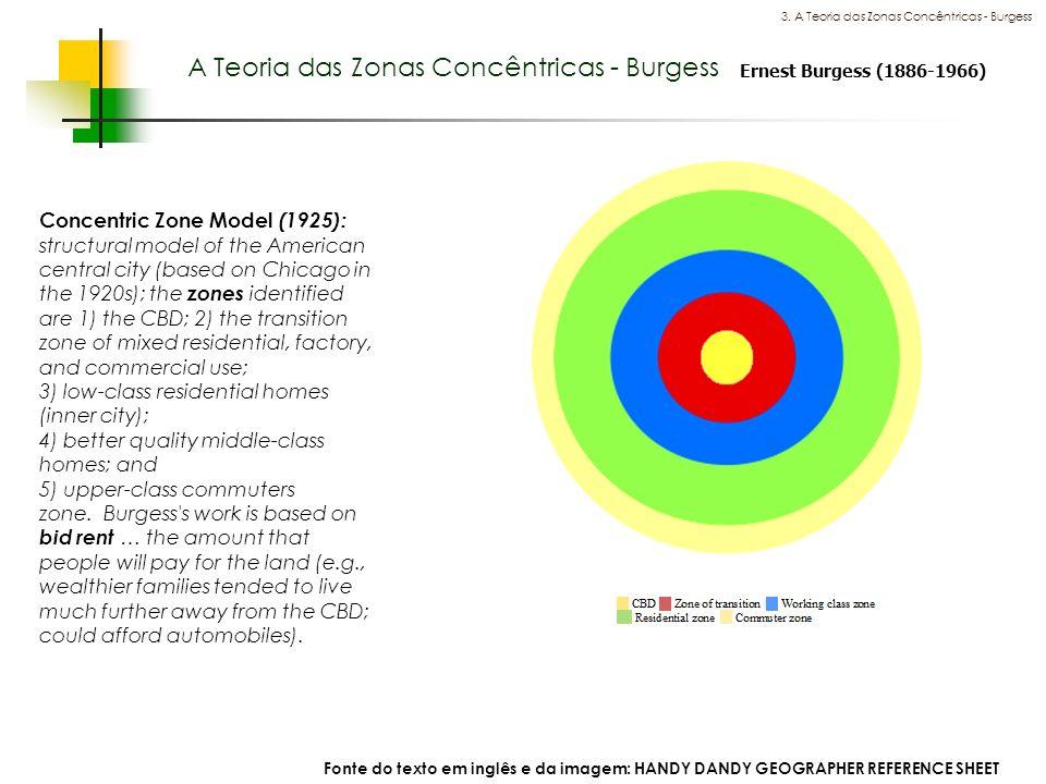 Espaços livres em megacidades A Teoria das Zonas Concêntricas - Burgess 3. A Teoria das Zonas Concêntricas - Burgess Ernest Burgess (1886-1966) Concen