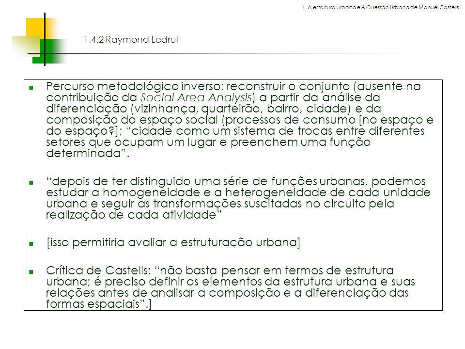 Espaços livres em megacidades 1.4.2 Raymond Ledrut Percurso metodológico inverso: reconstruir o conjunto (ausente na contribuição da Social Area Analy