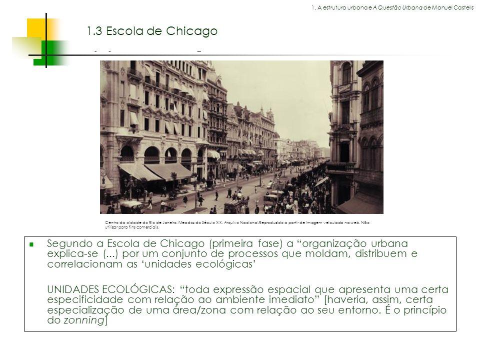 Espaços livres em megacidades 1.3 Escola de Chicago Segundo a Escola de Chicago (primeira fase) a organização urbana explica-se (...) por um conjunto