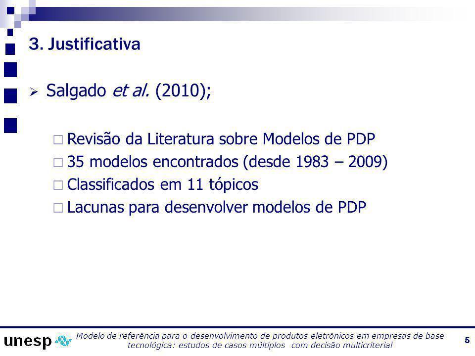 Modelo de referência para o desenvolvimento de produtos eletrônicos em empresas de base tecnológica: estudos de casos múltiplos com decisão multicriterial 6 3.