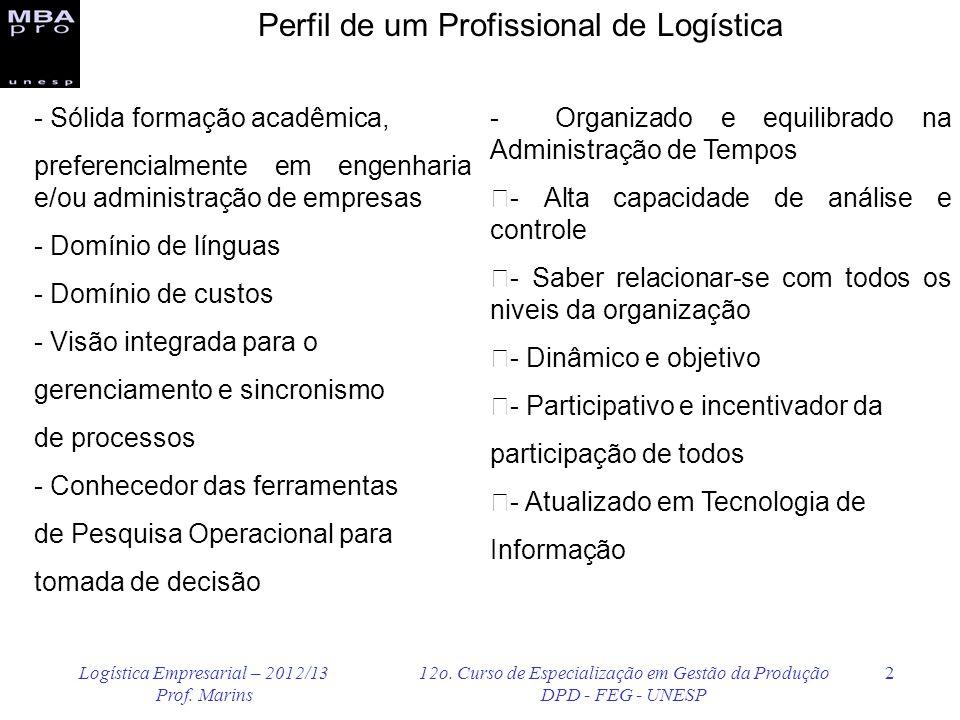 Logística Empresarial – 2012/13 Prof. Marins 12o. Curso de Especialização em Gestão da Produção DPD - FEG - UNESP 2 - Sólida formação acadêmica, prefe