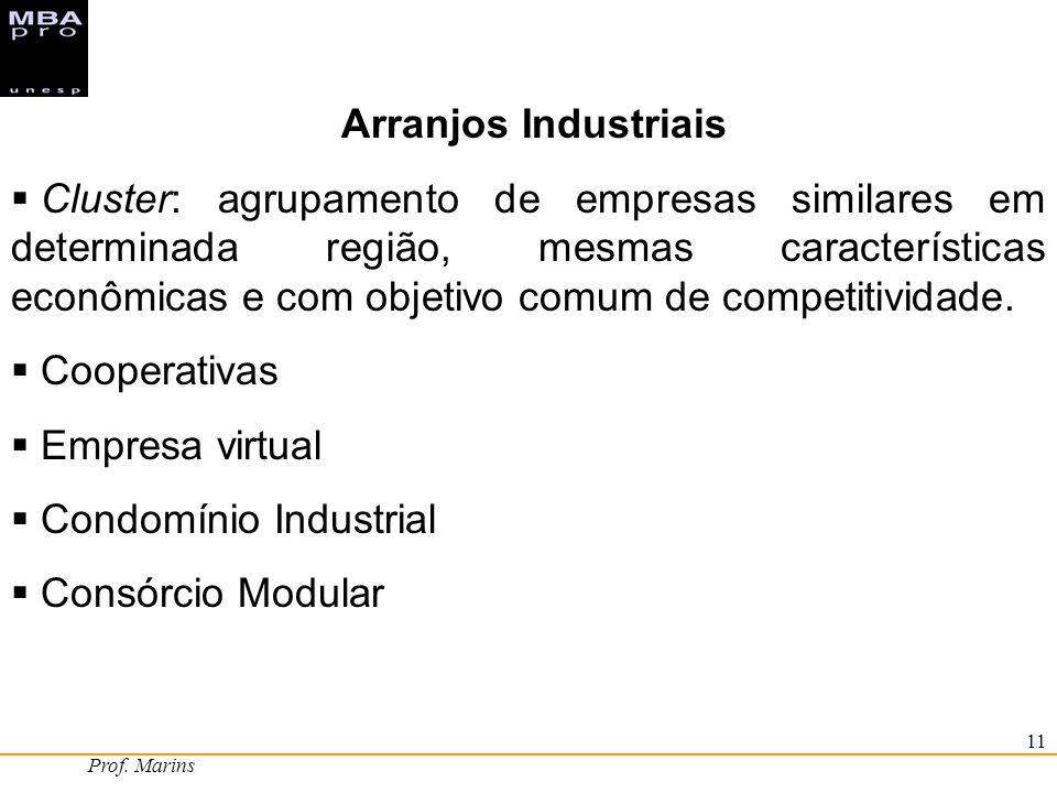Prof. Marins 11 Arranjos Industriais Cluster: agrupamento de empresas similares em determinada região, mesmas características econômicas e com objetiv