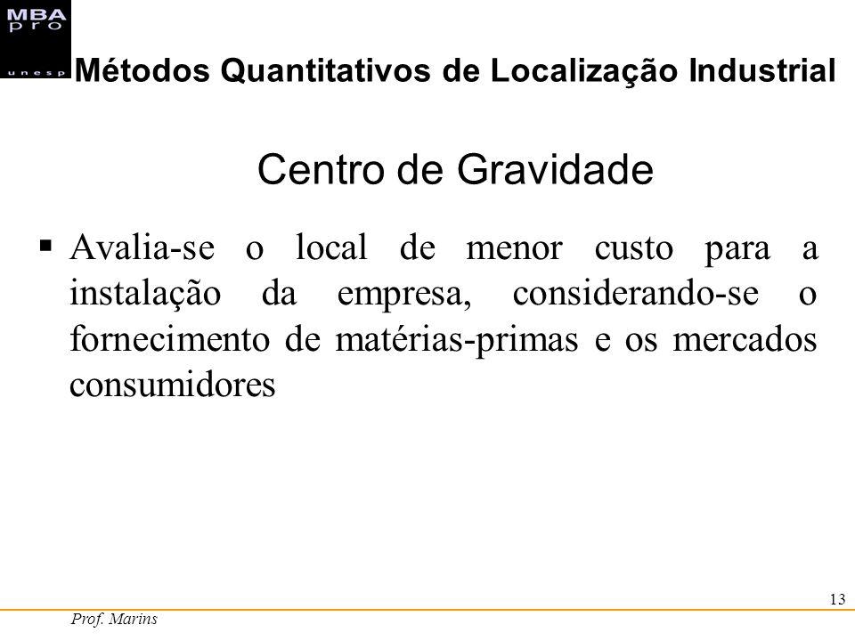 Prof. Marins 13 Métodos Quantitativos de Localização Industrial Centro de Gravidade Avalia-se o local de menor custo para a instalação da empresa, con