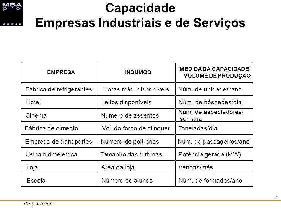 Prof. Marins 4 Capacidade Empresas Industriais e de Serviços EMPRESAINSUMOS MEDIDA DA CAPACIDADE VOLUME DE PRODUÇÃO Fábrica de refrigerantesHoras.máq.