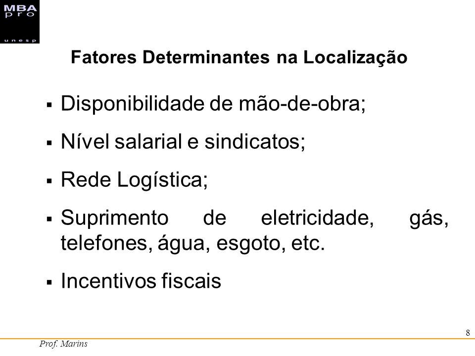 Prof. Marins 8 Disponibilidade de mão-de-obra; Nível salarial e sindicatos; Rede Logística; Suprimento de eletricidade, gás, telefones, água, esgoto,