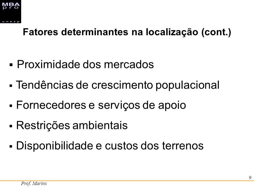 Prof. Marins 9 Proximidade dos mercados Tendências de crescimento populacional Fornecedores e serviços de apoio Restrições ambientais Disponibilidade