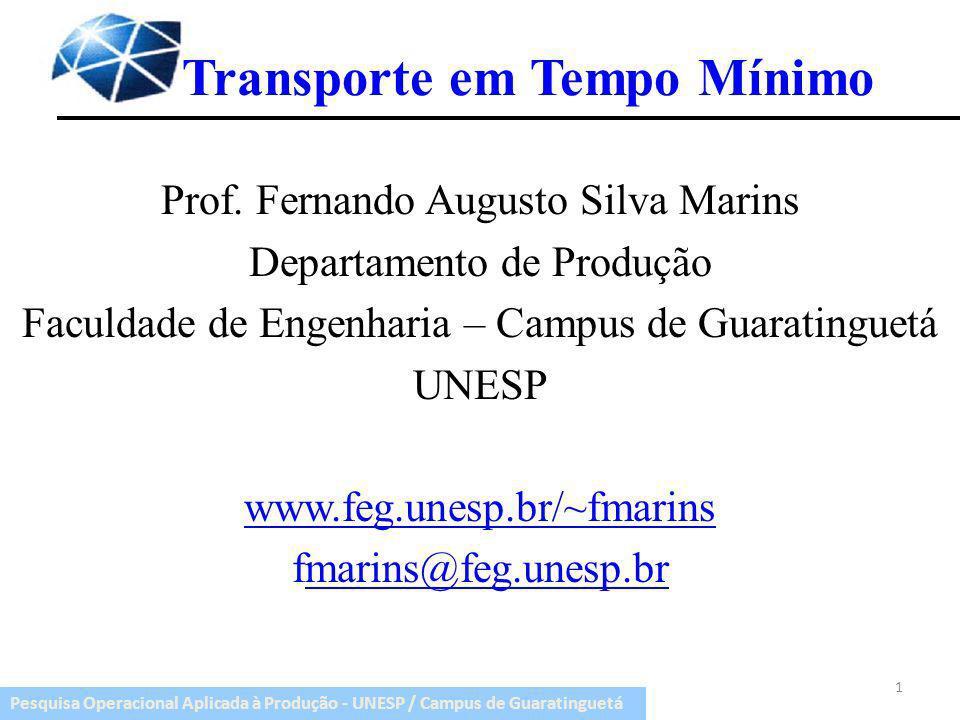 Pesquisa Operacional Aplicada à Produção - UNESP / Campus de Guaratinguetá Introdução Modelo do transporte a tempo mínimo se propõe a atender as demandas de diferentes mercados no menor tempo possível.
