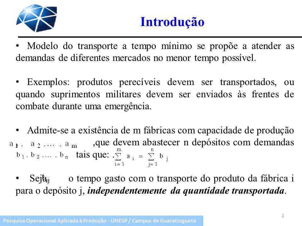 Pesquisa Operacional Aplicada à Produção - UNESP / Campus de Guaratinguetá Introdução Modelo do transporte a tempo mínimo se propõe a atender as deman