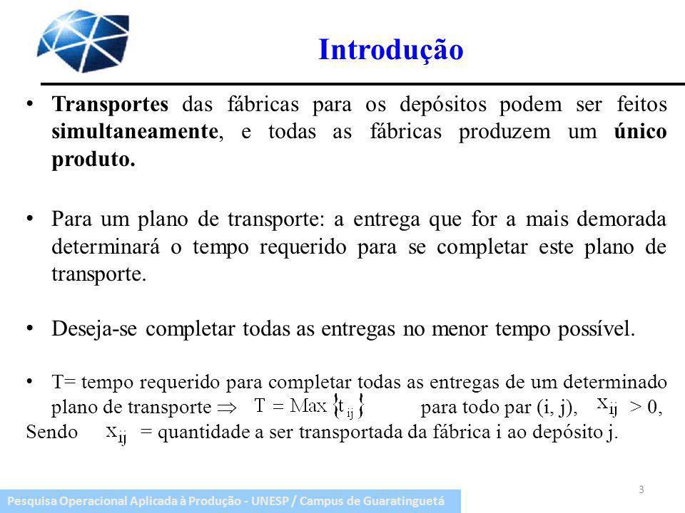 Pesquisa Operacional Aplicada à Produção - UNESP / Campus de Guaratinguetá Introdução Transportes das fábricas para os depósitos podem ser feitos simu