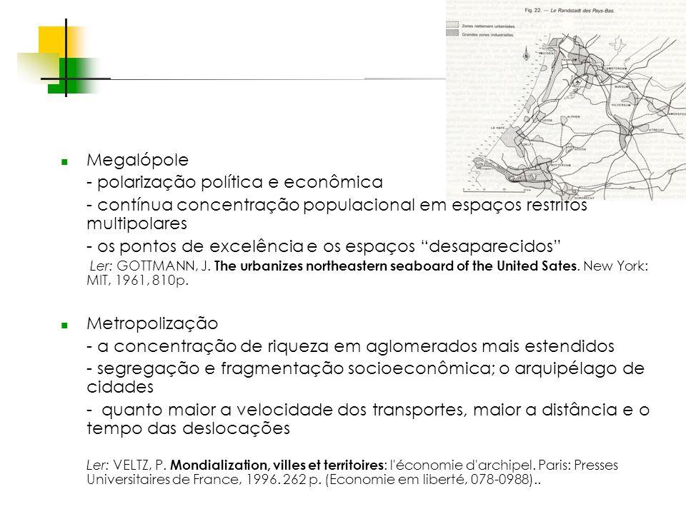 Espaços livres em megacidades Megalópole - polarização política e econômica - contínua concentração populacional em espaços restritos multipolares - os pontos de excelência e os espaços desaparecidos Ler: GOTTMANN, J.
