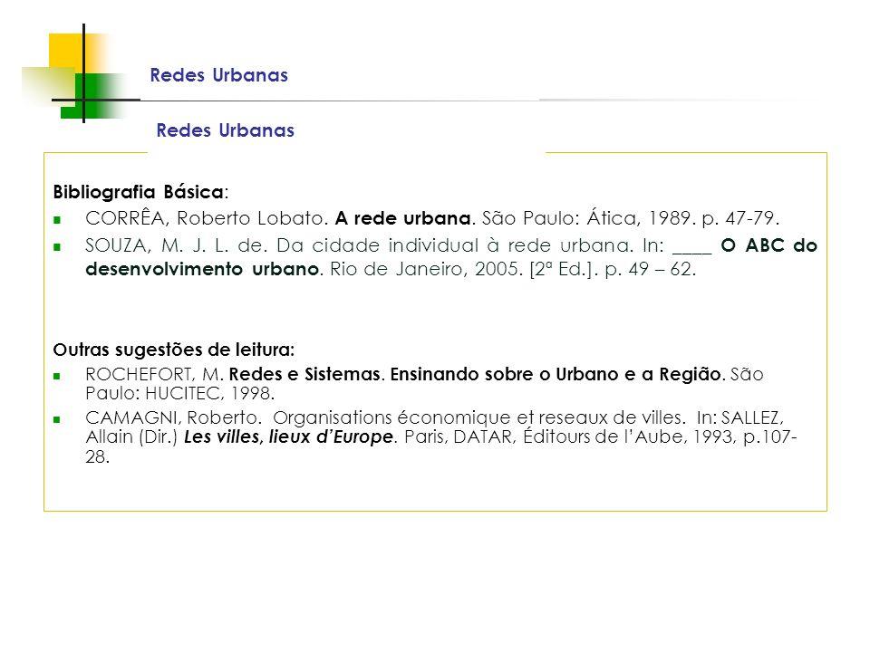 Espaços livres em megacidades Redes Urbanas Bibliografia Básica : CORRÊA, Roberto Lobato. A rede urbana. São Paulo: Ática, 1989. p. 47-79. SOUZA, M. J