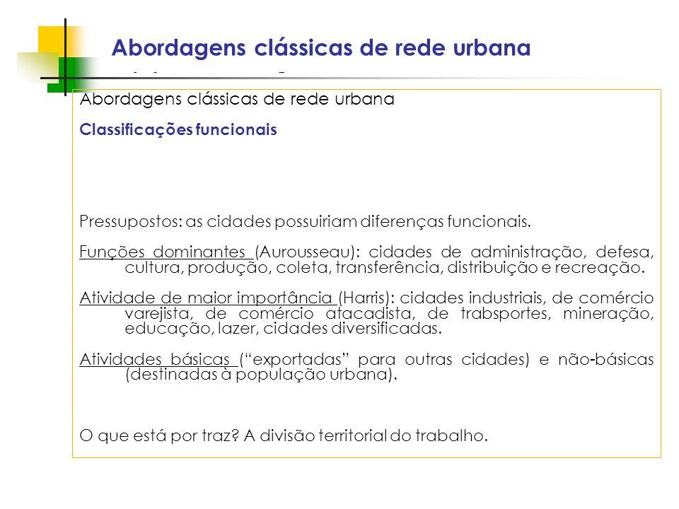 Espaços livres em megacidades Abordagens clássicas de rede urbana Classificações funcionais Pressupostos: as cidades possuiriam diferenças funcionais.