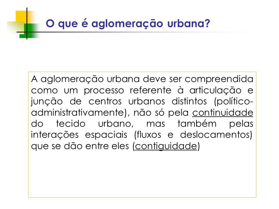 Espaços livres em megacidades O que é aglomeração urbana? A aglomeração urbana deve ser compreendida como um processo referente à articulação e junção