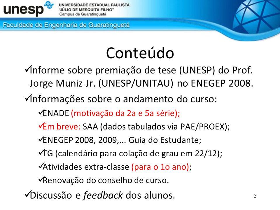 2 Conteúdo Informe sobre premiação de tese (UNESP) do Prof. Jorge Muniz Jr. (UNESP/UNITAU) no ENEGEP 2008. Informações sobre o andamento do curso: ENA