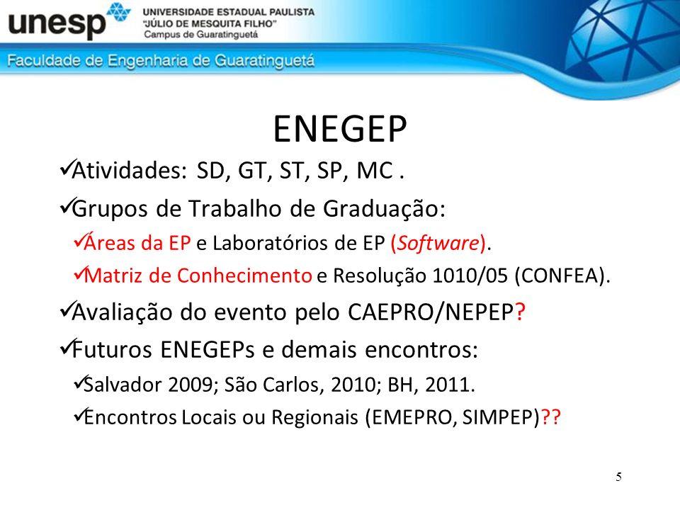 5 ENEGEP Atividades: SD, GT, ST, SP, MC. Grupos de Trabalho de Graduação: Áreas da EP e Laboratórios de EP (Software). Matriz de Conhecimento e Resolu