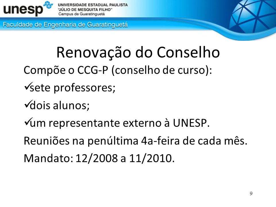 9 Renovação do Conselho Compõe o CCG-P (conselho de curso): sete professores; dois alunos; um representante externo à UNESP. Reuniões na penúltima 4a-