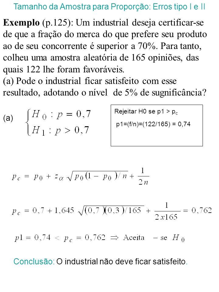 Seja: Tamanho da Amostra para Proporção: Erros tipo I e II p0p0 p pcpc p
