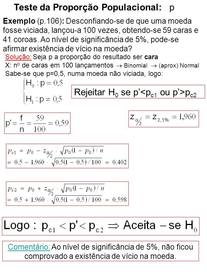 Teste da Variância 2 Critério: Rejeitar H 0 se: onde: Critério: Rejeitar H 0 se: onde: ou Critério: Rejeitar H 0 se: onde: