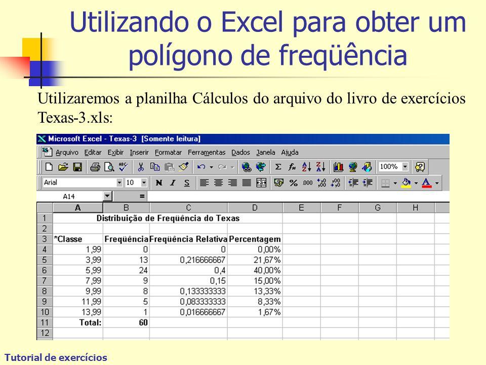 Utilizando o Excel para obter um polígono de freqüência Utilizaremos a planilha Cálculos do arquivo do livro de exercícios Texas-3.xls:
