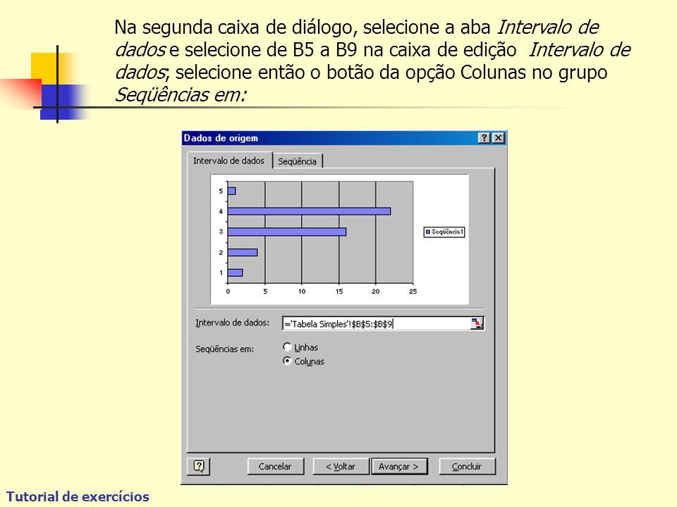 Tutorial de exercícios Na segunda caixa de diálogo, selecione a aba Intervalo de dados e selecione de B5 a B9 na caixa de edição Intervalo de dados; selecione então o botão da opção Colunas no grupo Seqüências em:
