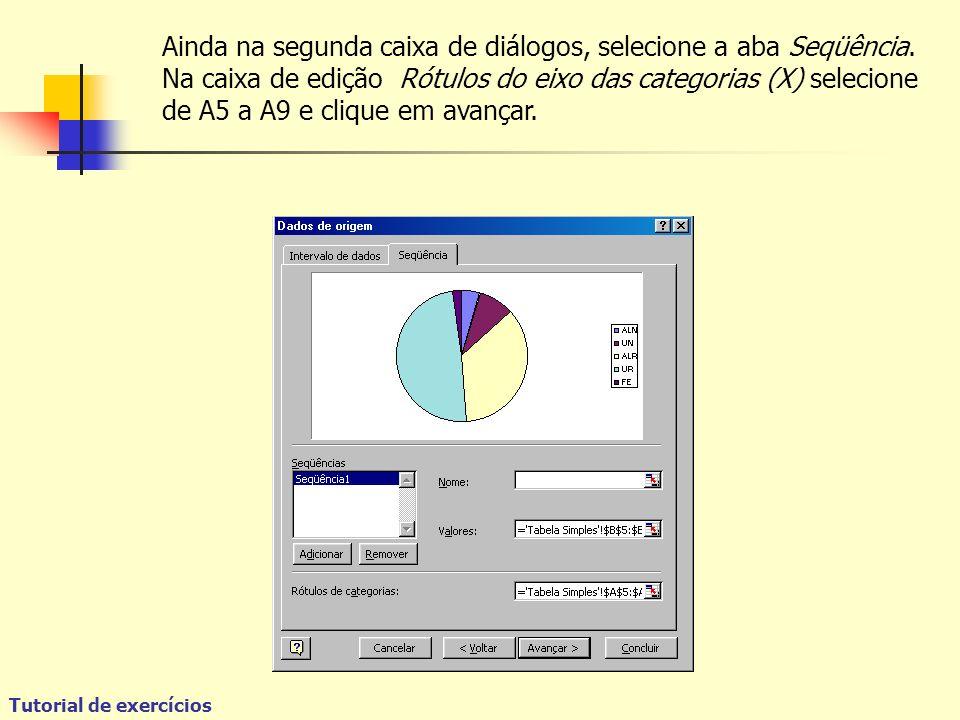 Tutorial de exercícios Ainda na segunda caixa de diálogos, selecione a aba Seqüência.