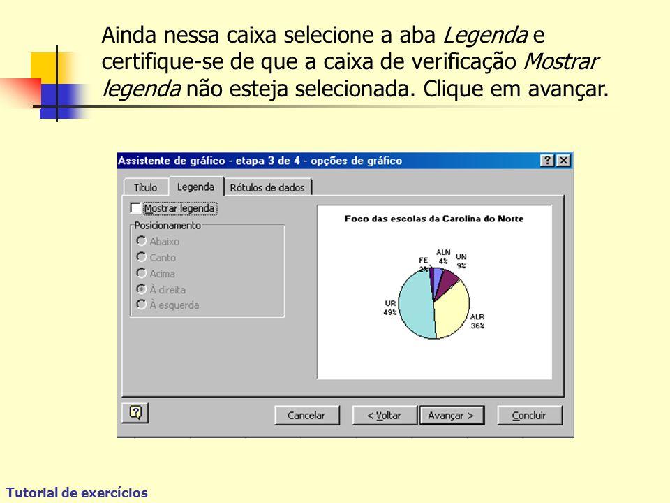 Tutorial de exercícios Ainda nessa caixa selecione a aba Legenda e certifique-se de que a caixa de verificação Mostrar legenda não esteja selecionada.