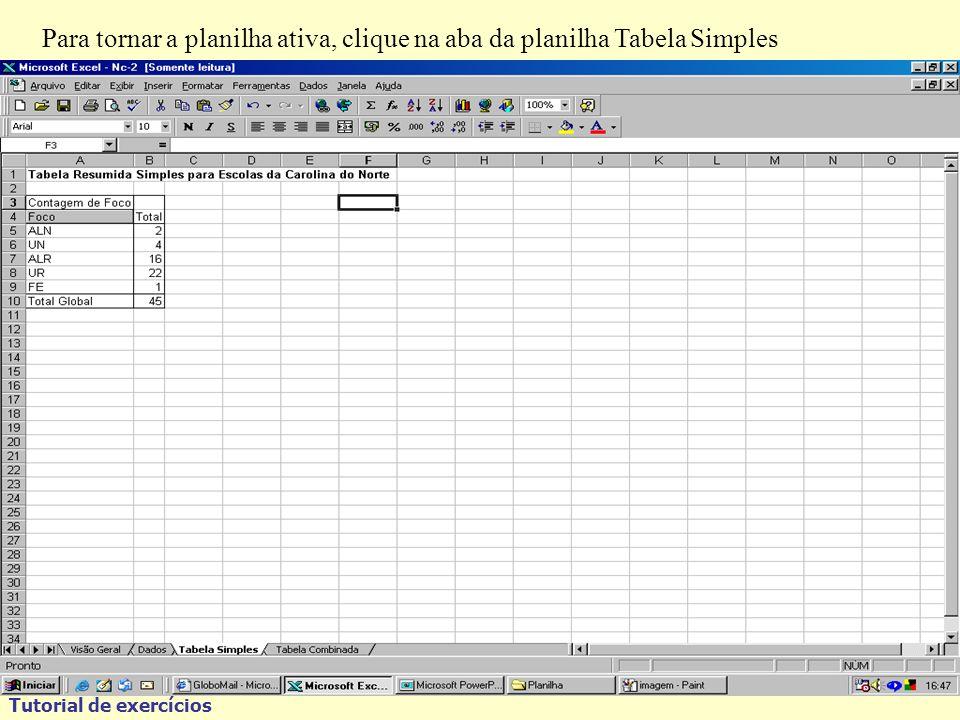 Tutorial de exercícios Para tornar a planilha ativa, clique na aba da planilha Tabela Simples