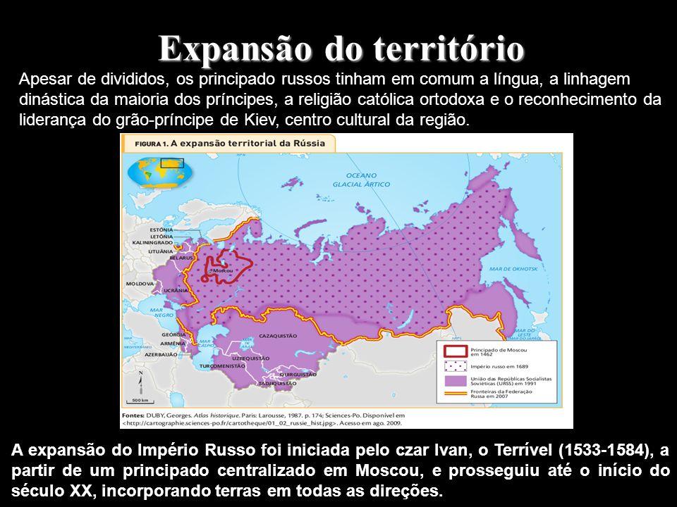 Expansão do território A expansão do Império Russo foi iniciada pelo czar Ivan, o Terrível (1533-1584), a partir de um principado centralizado em Moscou, e prosseguiu até o início do século XX, incorporando terras em todas as direções.