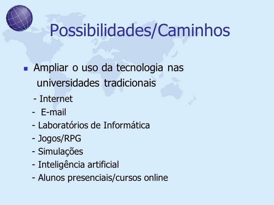 Possibilidades/Caminhos Ampliar o uso da tecnologia nas universidades tradicionais - Internet - E-mail - Laboratórios de Informática - Jogos/RPG - Sim