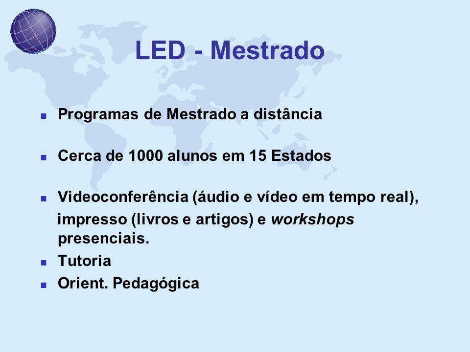 LED - Mestrado Programas de Mestrado a distância Cerca de 1000 alunos em 15 Estados Videoconferência (áudio e vídeo em tempo real), impresso (livros e