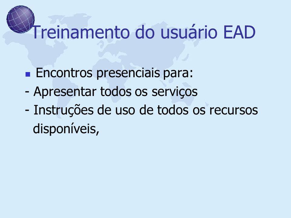 Treinamento do usuário EAD Encontros presenciais para: - Apresentar todos os serviços - Instruções de uso de todos os recursos disponíveis,